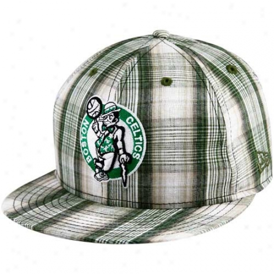 Boston Celtic Cap : New Era Boston Celtic Kelly Green Overplaid 59fifty Fitted Cap
