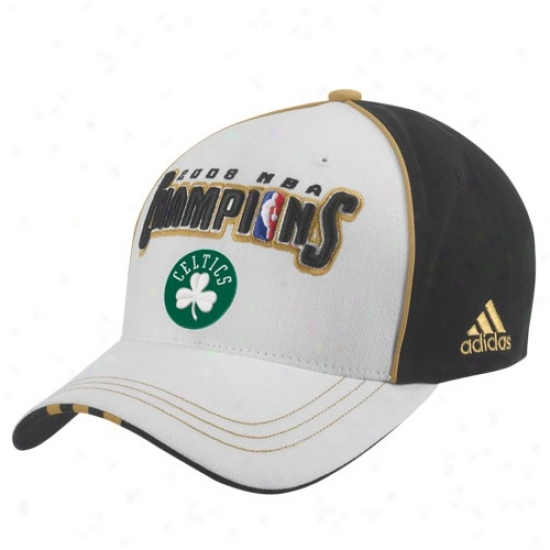 Boston Celtic Hats : Adidas Bostkn Celtic 2008 Nba Champions Black/white Locker Room Adjuustable Hats