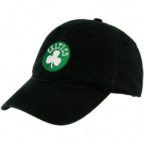 Boston Celtic Hats : Adidas Boston Celtic Black Basic Logo Slouch Hats
