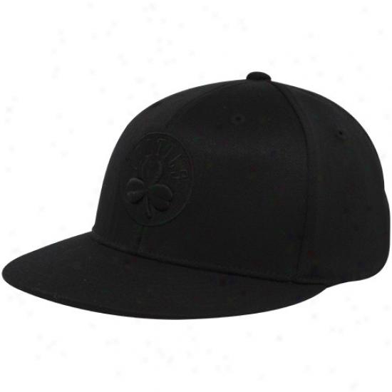 Boston Celtic Hats : Adidas Boston Celtic Black Tonal 210 Fitted Flex Hats