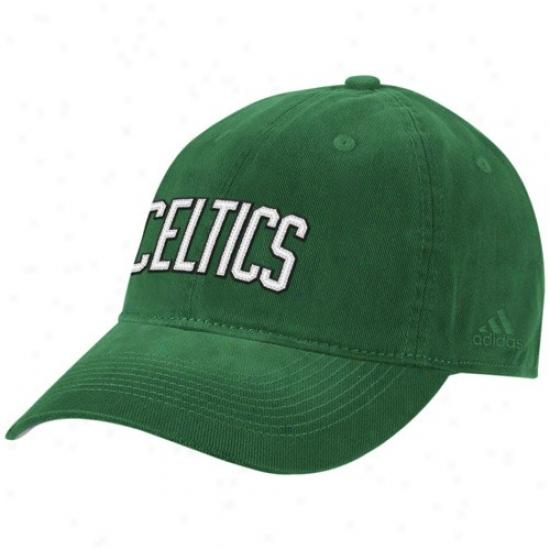 Boston Celtic Hats : Adidas Boston Celtic Green Script Slouch Hats