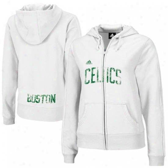 Boston Celtic Hoodies : Adidas Boston Celtic Ladies White Tail End Filled Zip Hoodies