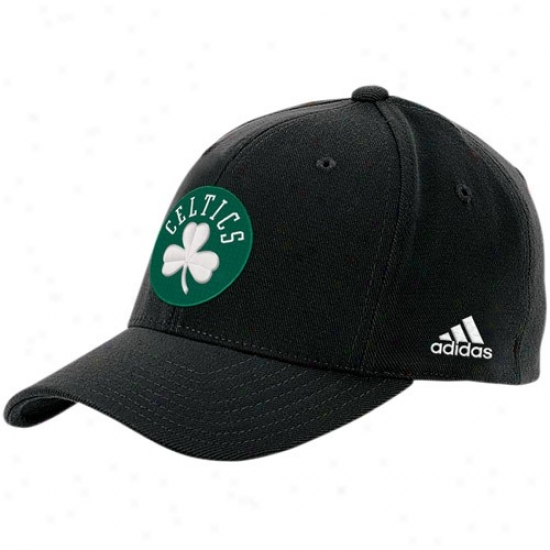 Boston Celtic Merchandise: Adidas Boston Celtic Black The Pivot Logo Flex Fit Hat
