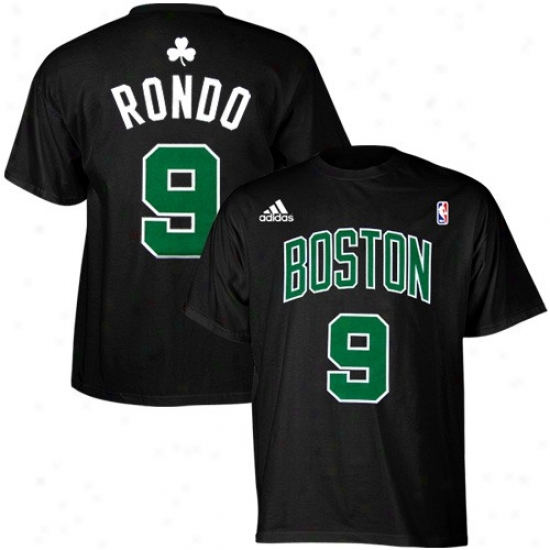 Boston Celtic Shirt : Adidas Bpsron Celtic #9 Rajon Rondo Black Net Player Shirt