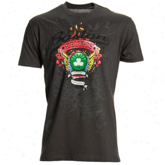 Boston Celtic T Shirt : Adidas Boston Celtic Charcoal Flame Thrower Super Soft Premium T Shirt