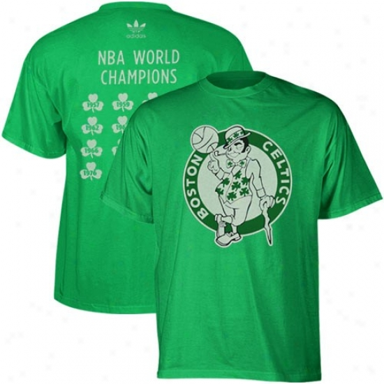 Boston Celtic T Shirt : Adidas Boston Celtic Kelly Lawn Nba Champions Total Count Premium T Shirt