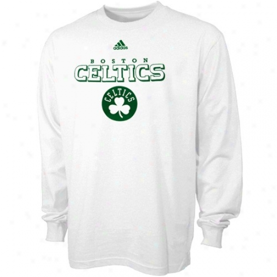 Boston Celtic Tee : Adidas Boston Celtic White True Long Sleeve Tee