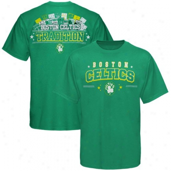 Boston Celtic Tees : Splendid Boston Celtic Kelly Green Ticket History Iii Tees