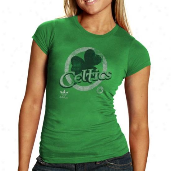 Boston Celtic Tshirts : Adidas Boston Celtic Ladies Kelly Green 2010 St. Patrick's Appointed time Premium Tshirts