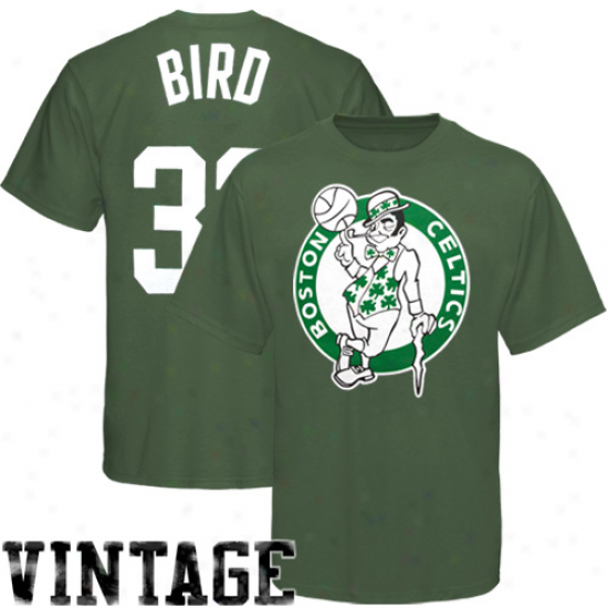 Boston Celtics Apparel: August Boston Celtics #33 Larry Bird Green Throwback Player Pigment Dyed T-shirt