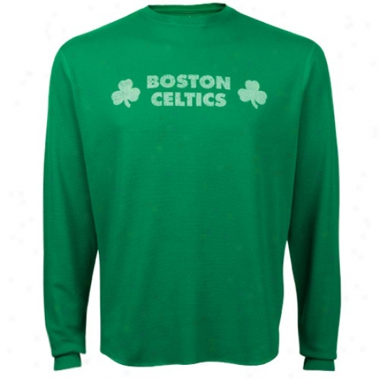 Boston Celtics Attire: Adidas Boston Celtics Kelly Green Vintage Shamrock Long Sleeve Thermal T-shirt