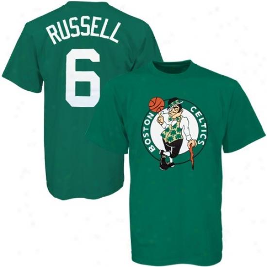 Boston Celtics Attire: Majestic Boston Celtics #6 Bill Russell Greej Player T-shirt
