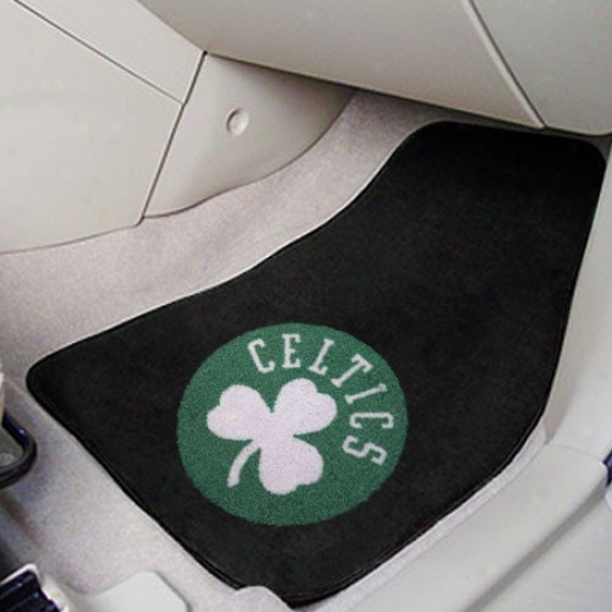 Boston Celtics Black 2-piece Carpet Car Mat Set