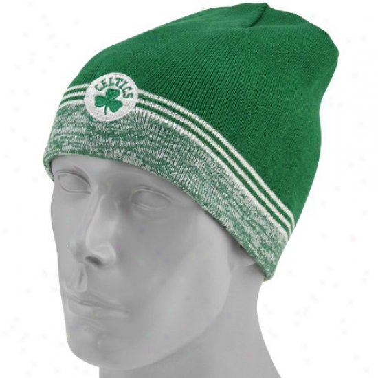 Boston Celtics Hats : Adidas Boston Celtics Kelly Green-white Striped St. Patrick's Day Reversible Knit Beanie