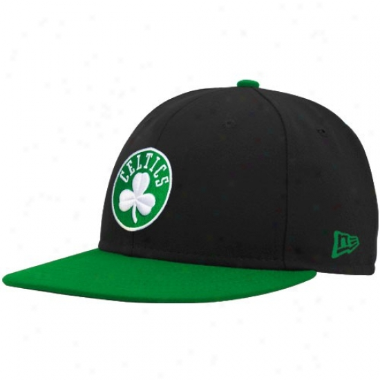 Boston Celtics Hats : New Era Boston Celtics Black-green Logo 59fifty Fitted Hats