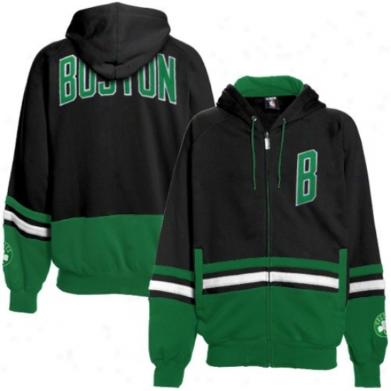 Boston Celtics Hoodies : Bosron Celtics Black-green Chaunce Full Zip Hoodies