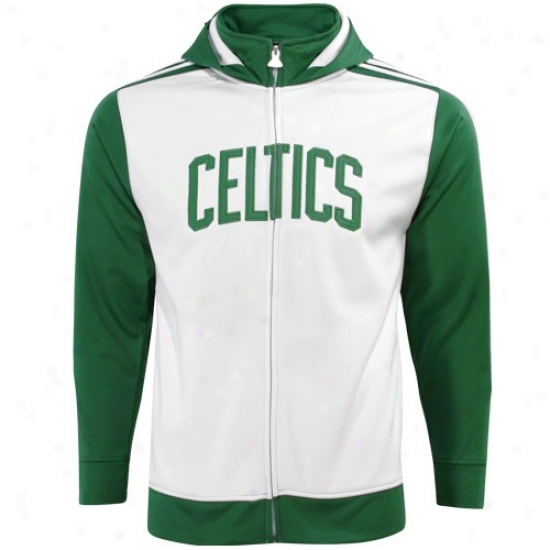 Boston Celtics Hoody : Adidas Boston Celtics Youth Girls White Track Jacket
