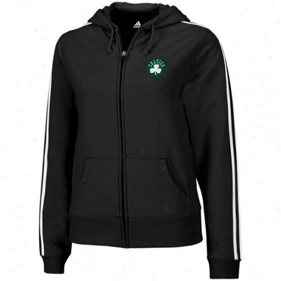 Boston Celtics Jacket : Adidas Boston Celtics Ladies Black Full Court Full Zip Hoody Sweatshirt