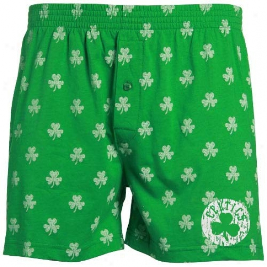 Boston Celtics Kelly Green St. Patrick's Day Shamrock Boxer Shorts