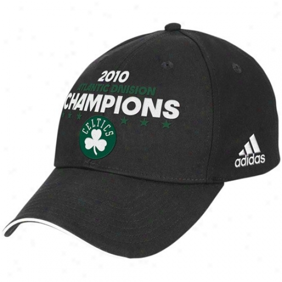 Boston Celtics Merchandise: Adidas Boston Celtics Black 2010 Atlantic Division Champions Adjustable Hat