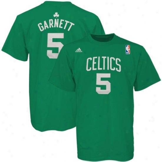 Boston Celtics T Shrit : Adidas Boston Celtics #5 Kevin Garnett Green Player T Shirt