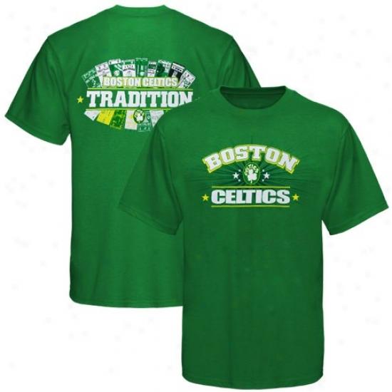 Boston Celtics T Shirt : Majestic Boston Celtics Kelly New Ticket History Ii T Shirt