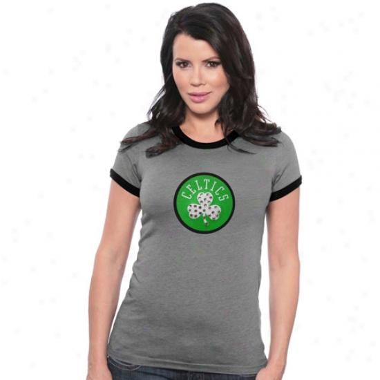 Boston Celtics T Shirt : Majestic Threads Boston Celtics Charcoal Ladies Swarovski Crystal Melange Ringer T Shirt