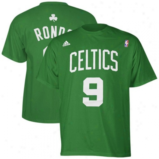 Boston Celtics Tees : Adidas Boston Celtics #9 Rajon Rondo Kelly Green Player Tees