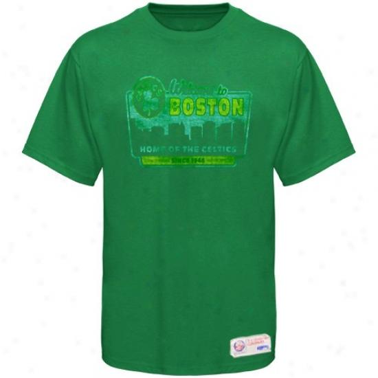 Boston Celtics Tees : Sportiqe-espn Bos5on Celtics Green Billboard Distressed Premium Tes
