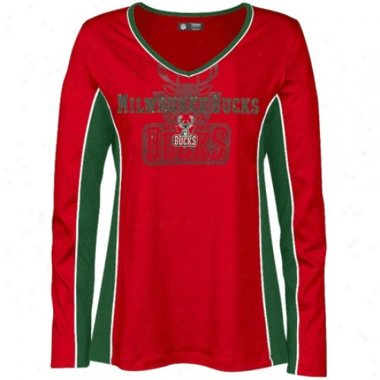 Bucks T-shirt : Mqjestic Bucks Ladies Red Prized Possession Long Sleeve T-shirt