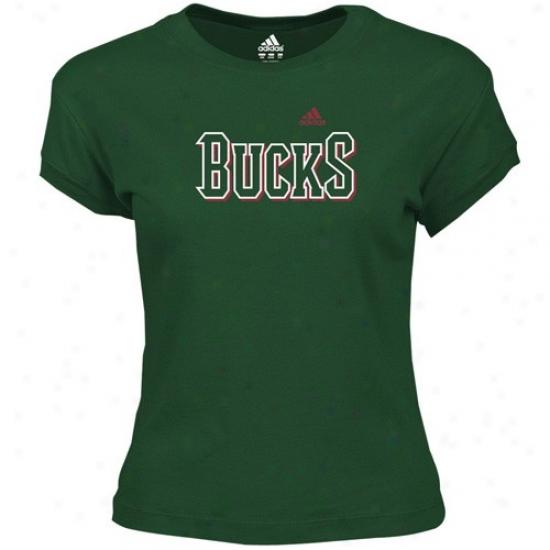 Bucks Tee : Adidas Bucks Ladies Green Classic Logo Tee