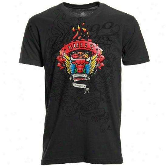 Bulls Attire: Adidas Bulls Cyarcoal Flame Thrower Super Soft Premium T-shirt