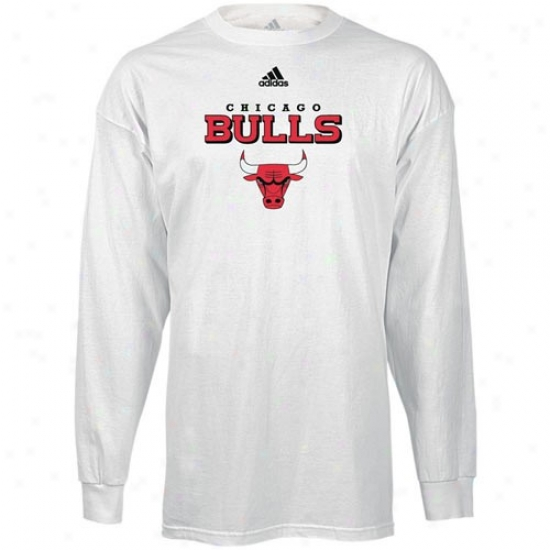 Bulls Attire: Adidas Bulls White True Long Sleeve T-shirt