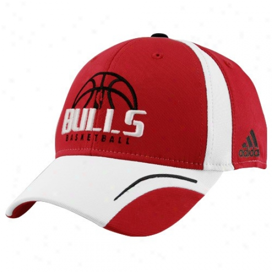 Bulls Caps : Adidas Bulls Red Fundamental Flex Fit Caps