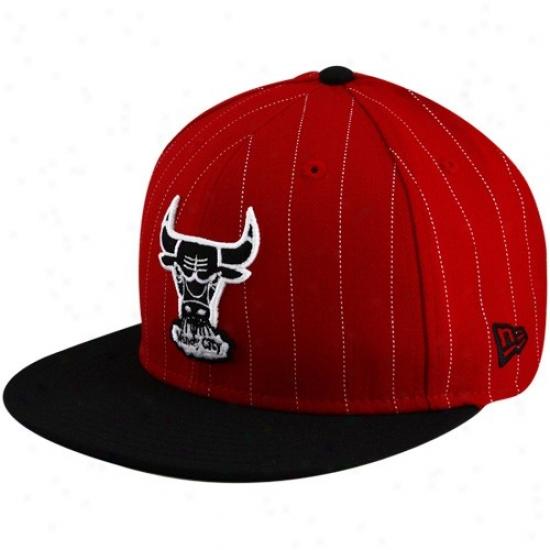 Bulls Caps : New Era Bulls Red Retro Stripe Adjuatable Caps