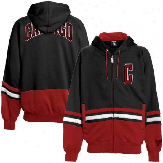 Bulls Fleece : Bulls Black-red Chaunce Full Zip Fleece