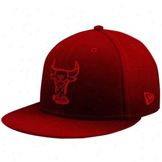 Bulls Hat : New Era Bulls Red Fadde Subtitle 59fifty Fitted Hat