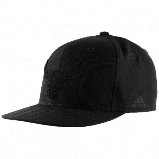 Bulls Hats : Adidas Bulls Black Tonal Fitted Hats
