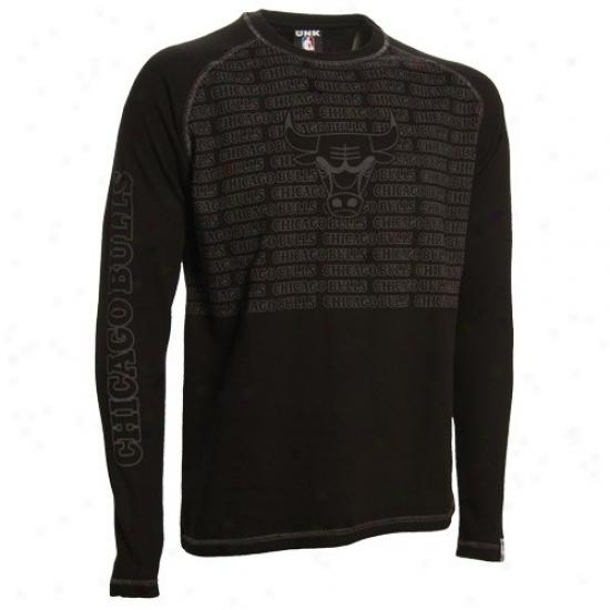 Bulls Shirt : Bulls Black The Fadeaway Long Sleeve Thetmal Shirt
