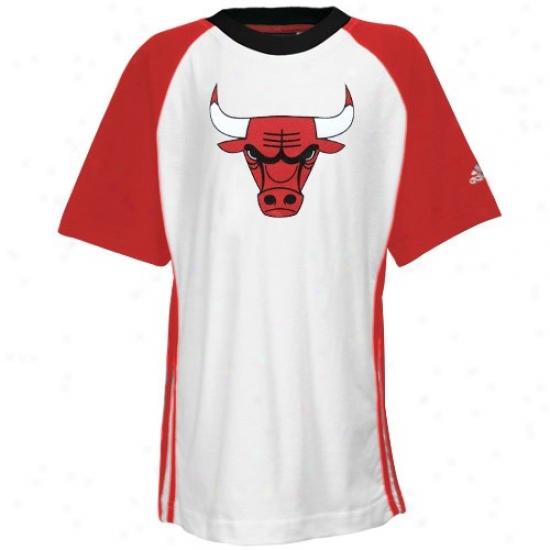 Bulls Tshirt : Adidas Bulls Youthh White Teaj Spirit Raglan Tshirt