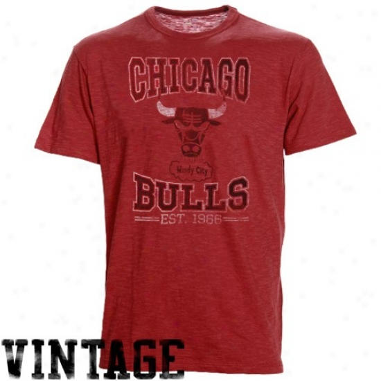 Bulls Tshirt : Banner '47 Bulls Heather Red Basketball Premium Vintage Tshirt