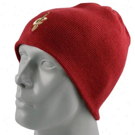 Cavaliers Caps : Adidas Cavaliers Burgundy Knit Beanie Caps