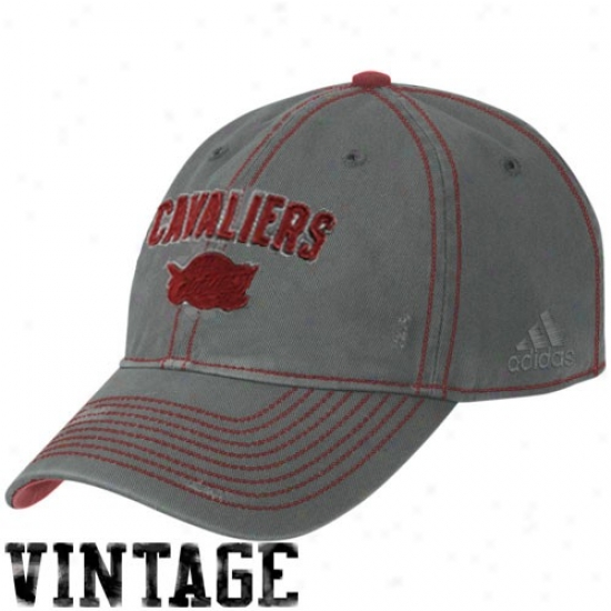 Cavaliers Hats : Adidas Cavlaiers Charcoal Slouch Adjustable Vintage Hats
