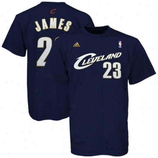 Cavaliers T Shirt : Adidas Cavaliers #23 Lebron James Navy Blue Net Players T Shirt