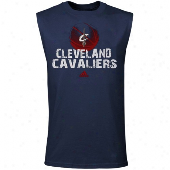 Cavaliers Tshirts : Adidas Cavaliers Youth Navy Blue Boldest Muscle Sleevelesss Tshirts