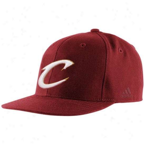 Cavs Gear: Adidas Cavs Wine Basic Logo Fitted Hat