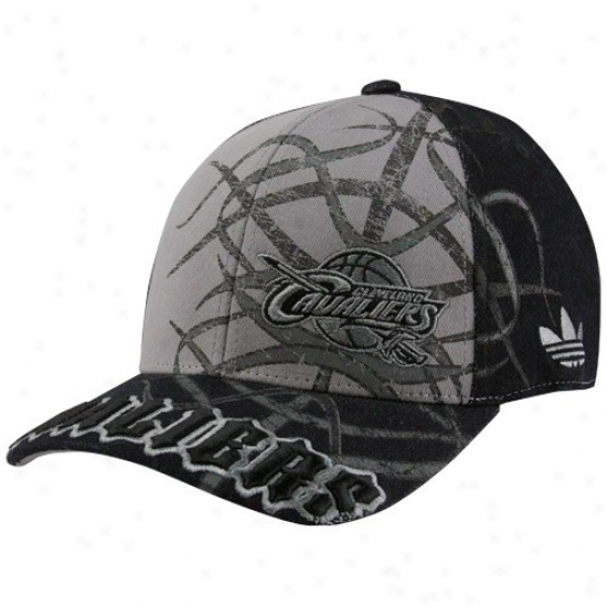 Cavs Hat : Adidas Cavs Black-gray Tatted Structured Flex Fit Hat