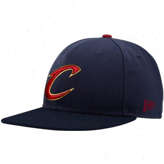 Cavs Hat : New Era Cavs Navy Blue Logo 59fifty Fittted Hat