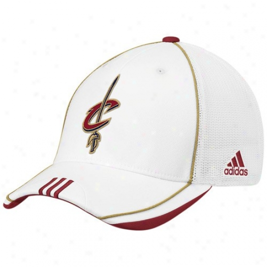 Cavs Merchandise: Adidas Cavs Pale 2010 Official Oh-court Mesh Back Flex Fit Hat