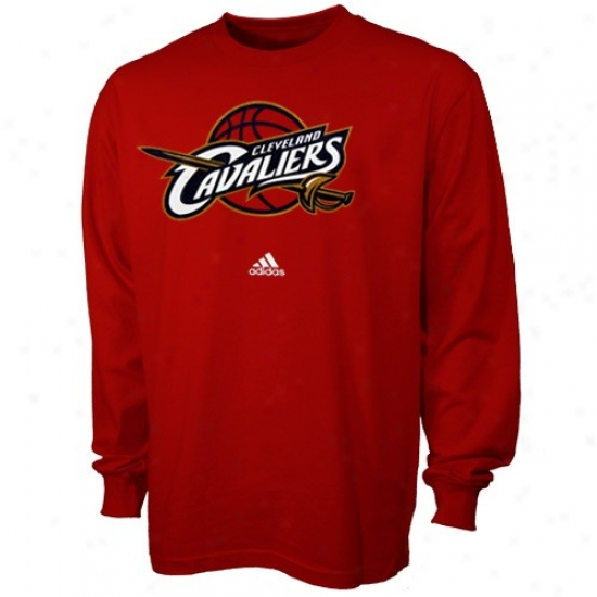 Cavs T Shirt : Adidas Cavs Youth Red Full Primary Logo Long Sleeve T Shirt